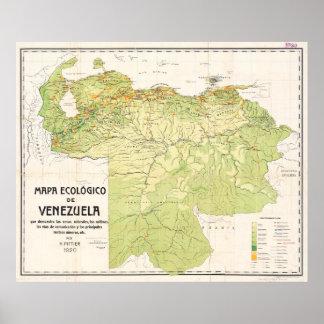 Vintage Map of Venezuela (1920) Poster