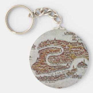 Vintage Map of Venice (1649) Basic Round Button Keychain