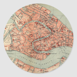 Vintage Map of Venice Italy (1920) Classic Round Sticker