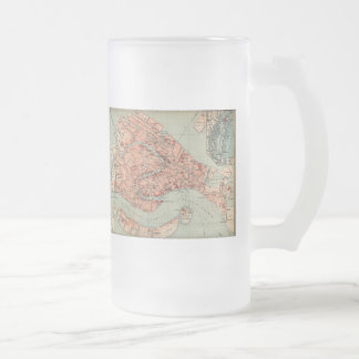 Vintage Map of Venice Italy (1920) Frosted Glass Beer Mug