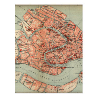 Vintage Map of Venice Italy (1920) Postcard