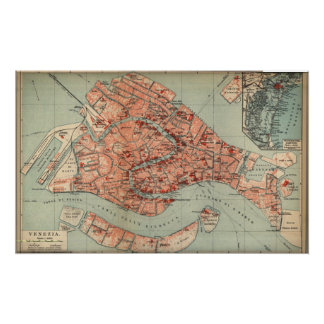 Vintage Map of Venice Italy (1920) Poster