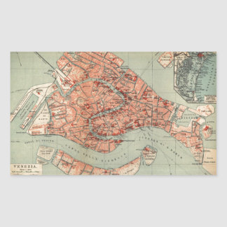Vintage Map of Venice Italy (1920) Rectangular Sticker