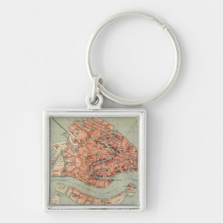 Vintage Map of Venice Italy (1920) Silver-Colored Square Keychain