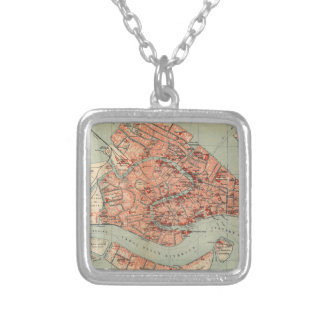 Vintage Map of Venice Italy (1920) Square Pendant Necklace