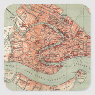 Vintage Map of Venice Italy (1920) Square Sticker