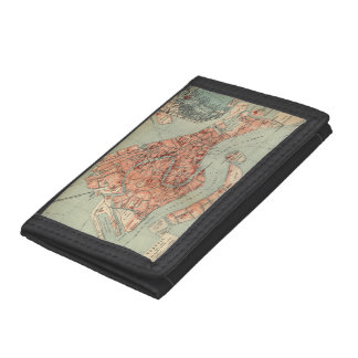 Vintage Map of Venice Italy (1920) Trifold Wallets