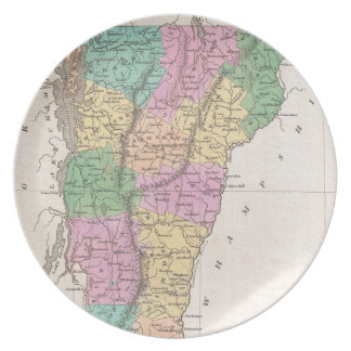 Vintage Map of Vermont (1827) Dinner Plate