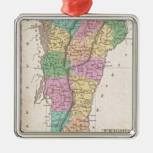 Vintage Map of Vermont (1827) Christmas Tree Ornament