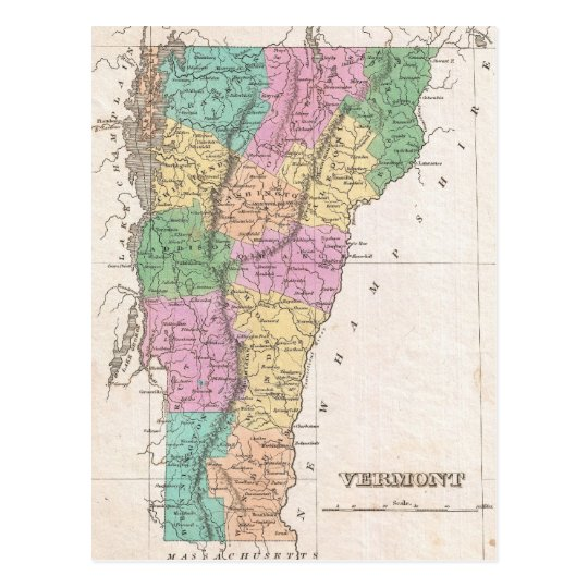 Vintage Map of Vermont (1827) Postcard