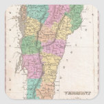 Vintage Map of Vermont (1827) Square Stickers