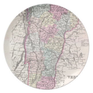 Vintage Map of Vermont (1855) Dinner Plate