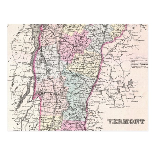 Vintage Map of Vermont (1855) Postcard