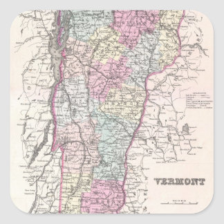 Vintage Map of Vermont (1855) Square Sticker