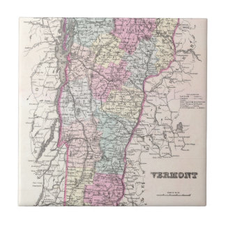 Vintage Map of Vermont (1855) Tile