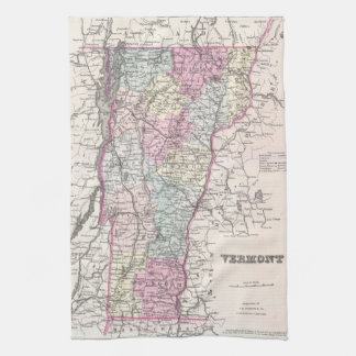 Vintage Map of Vermont (1855) Towels