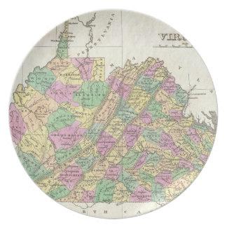 Vintage Map of Virginia (1827) Melamine Plate