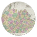 Vintage Map of Virginia (1827) Party Plate