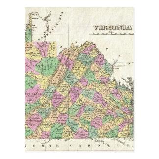 Vintage Map of Virginia (1827) Postcard