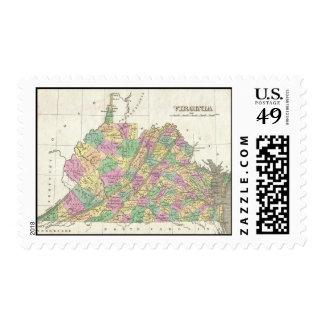 Vintage Map of Virginia (1827) Stamp