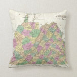 Vintage Map of Virginia (1827) Throw Pillow