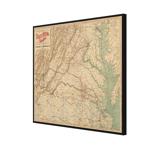 Vintage Map of Virginia Battlefields (1892) Canvas Print