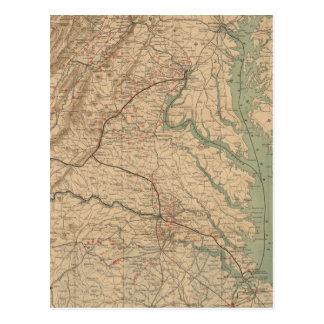 Vintage Map of Virginia Battlefields (1892) Postcard