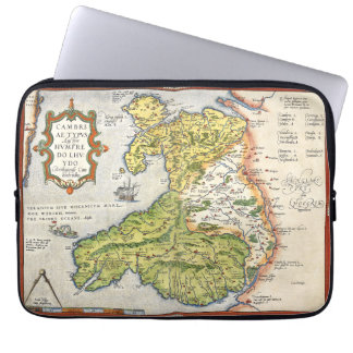 Vintage Map of Wales and Anglesey 1579 13 ins Laptop Sleeve