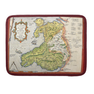 Vintage Map of Wales and Anglesey 1579 13ins Sleeves For MacBook Pro