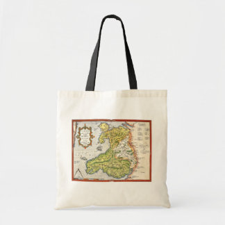 Vintage Map of Wales and Anglesey 1579 Budget Tote Bag