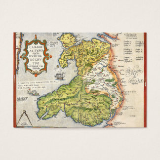 Vintage Map of Wales and Anglesey 1579 Business Card
