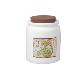 Vintage Map of Wales and Anglesey 1579 Candy Jars