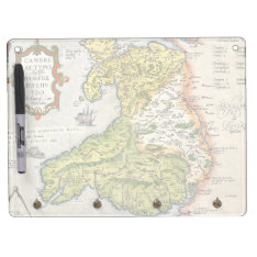 Vintage Map Of Wales And Anglesey 1579 Dry Erase Board With Keychain Holder at Zazzle