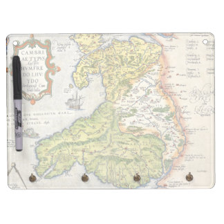 Vintage Map of Wales and Anglesey 1579 Dry Erase Board With Keychain Holder