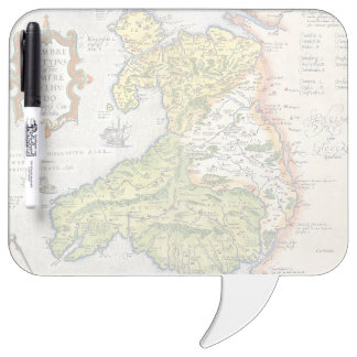 Vintage Map of Wales and Anglesey 1579 Dry Erase Board