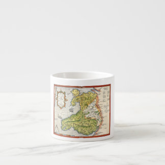 Vintage Map of Wales and Anglesey 1579 Espresso Cup