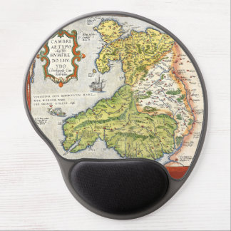 Vintage Map of Wales and Anglesey 1579 Gel Mouse Pad