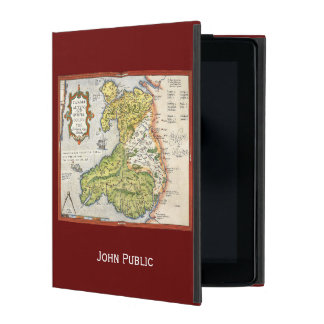 Vintage Map of Wales and Anglesey 1579 iPad Folio Cases