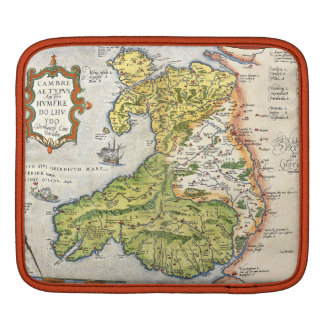Vintage Map of Wales and Anglesey 1579 iPad Sleeve