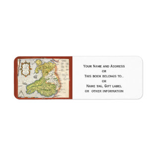 Vintage Map of Wales and Anglesey 1579 Label at Zazzle
