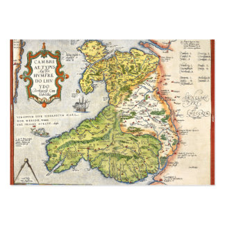 Vintage Map of Wales and Anglesey 1579 Large Business Card