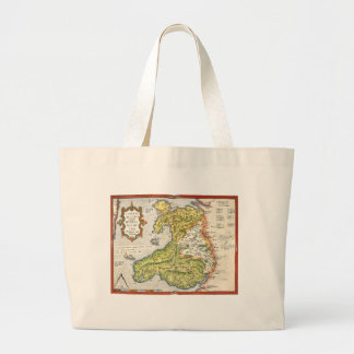 Vintage Map of Wales and Anglesey 1579 Large Tote Bag