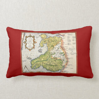 Vintage Map Of Wales And Anglesey 1579 Lumbar Pillow at Zazzle