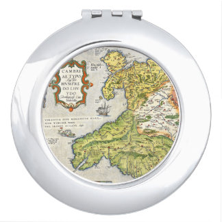 Vintage Map of Wales and Anglesey 1579 Makeup Mirrors