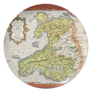 Vintage Map Of Wales And Anglesey 1579 Melamine Plate at Zazzle