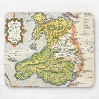 Vintage Map of Wales and Anglesey 1579 Mouse Pad