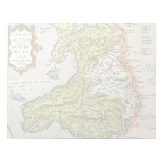 Vintage Map of Wales and Anglesey 1579 Notepad
