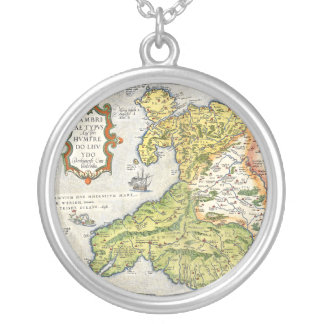Vintage Map of Wales and Anglesey 1579 Round Pendant Necklace