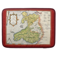 Vintage Map Of Wales And Anglesey 1579 Sleeve For Macbooks at Zazzle
