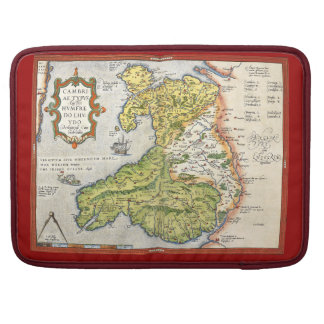 Vintage Map of Wales and Anglesey 1579 Sleeve For MacBooks